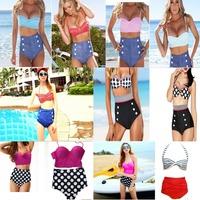 2014 Hot Good quality Cutest Sexy Retro Women's Swimwear High waisted denim bottoms Padded bustier top bikini Set Beachwear