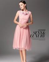 2014 Free shipping Summer Europe and America Bohemian  sleeveless dress Women's  Dress,High Quality dress ,Dark blue,pink,