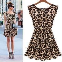 fashion night club sexy leopard sleeveless o-neck one piece lady dress cheap