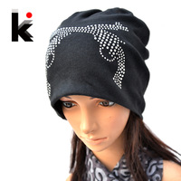 Free shipping Autumn and Winter Beanie Diamond Turban Caps Skullies Two Guns Hat gorro Hats for women men bonnet 10 colors