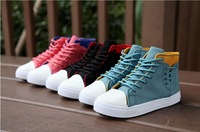 Free Shipping Spring female shoes flat casual skateboarding canvas shoes