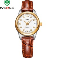 WEIDE stainless steel water resistant Swiss Ronda quartz 8 Austria Crystals genuine leather band business dress watch WG-93009PG