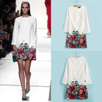 Fashion Women Floral Hem Printed Vintage Mini Dress wholesale European catwalk star 2014 new autumn 3/4 Sleeve chiffon dress