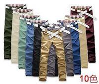 2014 fashion colorful lattice two button decoration two pocket design men's Korean casual pants