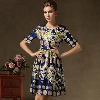 european style women summer dress vintage dress coin and flower printed cocktail dresses silk satin blue dress