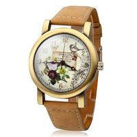 Casual Watch Women's Polymer Clay PU Analog Quartz Wrist Watch With Brown