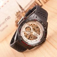 2014 New Famous Brand Fashion Casual Stainless Steel Men rubber Mechanical waterproof Watch Skeleton Watch Dress Wristwatch