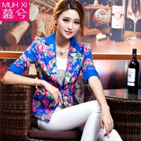 2014 spring half sleeve slim all-match fashion print blazer suit women's outerwear extra plus size  free shipping