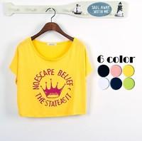 Free shipping 2014 NEW fashion apparel short-sleeve shirt small  all-match loose batwing sleeve modal short design t-shirt