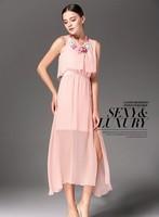 2014 Free shipping Summer Europe and America Bohemian sleeveless dress Women's  Dress,High Quality dress , Black, blue,pink,
