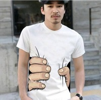 2014 new male/female T-shirt interesting and cool design hand grip 2 T-shirt woman clothes S/M/L/XL white jacket plus size