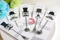 Free shipping Wedding supplies creative mustache cat glasses spoon fork wedding gifts bridal shower favors