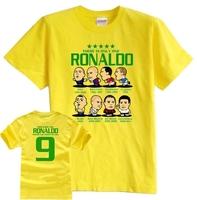 Brazil World Cup Barcelona Real Madrid AC Milan Inter Milan Ronaldo cartoon cotton short-sleeved T-shirt 8 colors