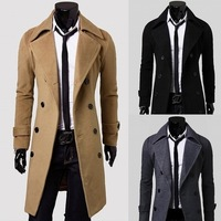 Free Shipping 2014 Hot Men's Jackets Double Platoon To Buckle LiLing Badges Dust Coat Male Coat Size:M-3XL