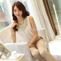 Brand New 2014 Summer Elegant all-match Sleeveless Vest Chiffon Shirt Tops Beading Paillette Basic Casual Shirt Women Large Size