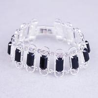 Hot Selling,Rhinestone Bracelet,Shining Black Gem Fashion Jewelry Bracelet,Silver Plated Bracelet,Clear Stone Hand Chain,BG-54