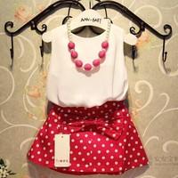 (5 pcs/lot)wholesale 2014 new summer female child sleeveless vest+ bow dot skirt 2 pieces children's clothing set baby clothes