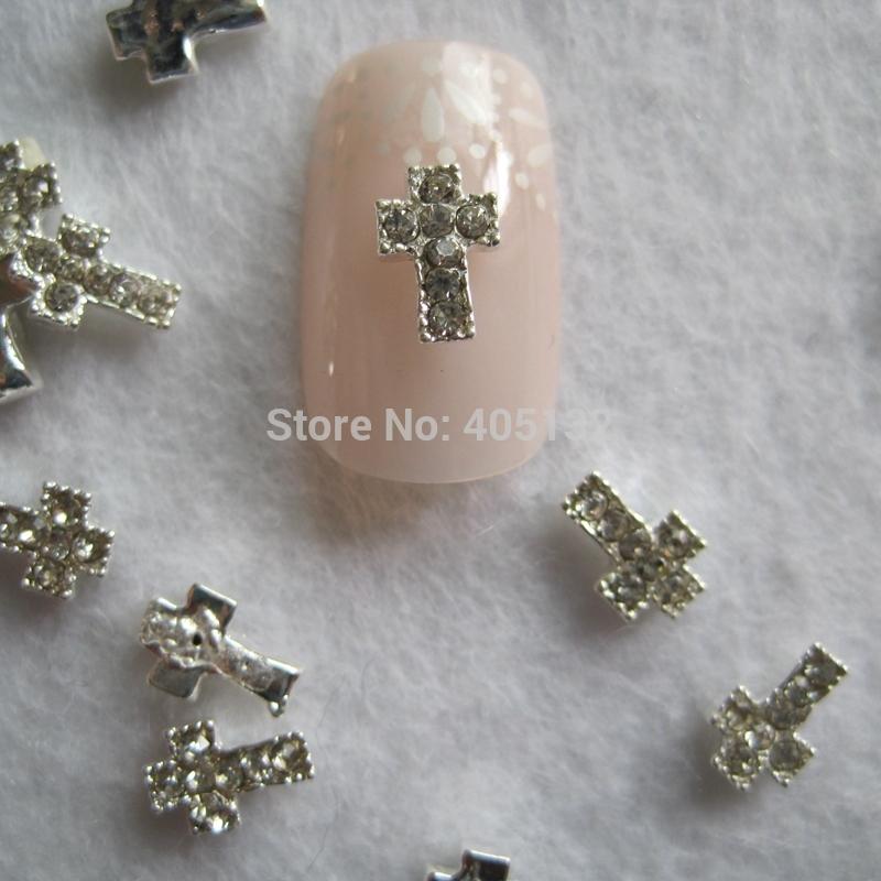 MD-645 3D 50pcs/bag Nail Decoration Metal Silver Cross Deco Metal Nail Art Decoration(China (Mainland))