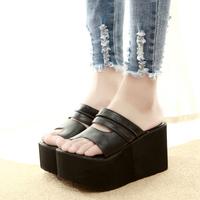 Summer 2014 toe-covering PU slippers female high-heeled platform sandals wedges platform slippers comfortable slides 2 colors