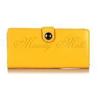 Women Genuine Leather Wallet Purse Card Holder Clutch Bag Button Yellow Fashion