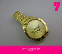 New Army Sport Style Fashion  Watch  Three Leaf Clover Steel Band Belt Gold Wristwatches Quartz  for Men Boys 10pcs/lot