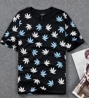 100% cotton Harajuku Maple leaves Hemp leaf New 2014 couple t shirt Hip hop Fashion Casual Loose Sportswear hiphop Rock DJ-35