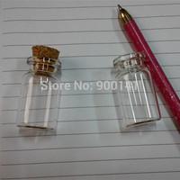 1ml 122406 small tiny mini cute Clear Glass Bottle Test tube Vial Cork Wishing wedding use, glass bottle jar with cork