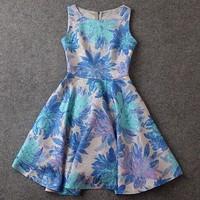 2014 summer new models Brand Fashion Europe and America big jacquard Slim thin dress women's big swing Tank vest dress