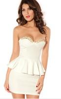 sexy sheath mini strapless sleeveless rivet summer dress lady women dress commuted dress