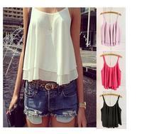 2014 Free Shipping  Summer Casual Shirts Sleeveless Spaghetti Strap Sexy Chiffon Women Blouses Vest Tops