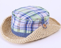 2014 new Korean boys and girls children's summer straw sun hat  beach hat child visor caps. ,Free Shipping