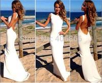 New European sexy White open back floor length long dress