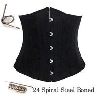 24 Spiral Steel Boned Waist Training Cincher Plus Size Underbust Corset Waspie