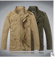 Big size XXL XXXL XXXXL 2014 Aurmn and winter men Casual fashion Military style jacket Cotton Thin Parka coat Army green khaki