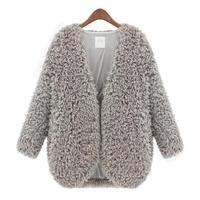 2014 new women coat  European and American slim solid color v-neck long sleeves faux woollen medium style cardigan coat 8074