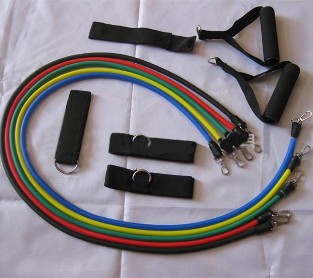11 pcs Hot Sale Fitness Equipment Resistance Bands Exercise Elastic Training Rope Yoga Pull Rope Pilates Expander(China (Mainland))