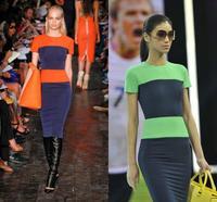 Fantastic Hot Selling Women Fashion Zipper Short Sleeve Stripe Splicing Pencil Bodycon Cocktail Girls Summer Dress 2014 Women