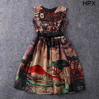 Ladies Fashion Vintage Country Scenes Print Ball Gown Princess Brand Dress Designer high quality,Women 2014 Summer New 23298