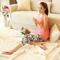 Brand New 2014 Summer Fashion Plus Size Flower Print Elastic Waist Casual Pants Women's Capris all-match Female