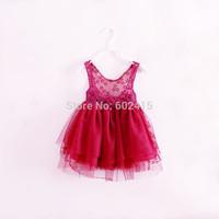 Top quality 6pcs 2014 Summer Children girl's Elegant  dress Spaghetti strape princess lace dress  HGG 1650