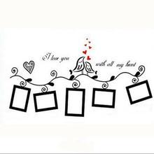 1PC Coffee/Black Love Birds Photo Frame Art Wall Stickers Decal Romantic Wedding Room Decor 2014(China (Mainland))