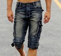 Free shipping vintage denim shorts men water wash tooling denim capris american slim men casual capris