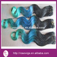 5A cheap Ombre color 1b/blue/green three tone virgin Peruvian hair body wave ombre human hair extensions 3 pcs