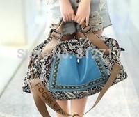 2014 New Fashion Women Ladies Prints Studded Rivets Travel Handbags Purse Shoulder Strap Bags Tote Vintage Canvas Casual Bags