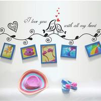 2 Colors Coffee/Black Photo Frame Loving Bird Love You Heart Decal Vinyl Wall Stickers PVC Decor Decoration DIY Home Living room