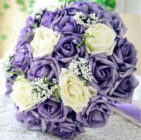 2014 New bridal purple flower Romantic Wedding  Bride's Bouquet bridesmaid  wedding souvenir casamento buque de noiva brooch