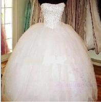 2014 Bridal New Autumn Fluffy Lacing Puff Strap Slim Wedding Dress Paillette Beading wedding Bridal Ball Dresses Gowns