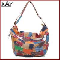 New 100% Cowhide Genuine Leather handbag Womens Fashion Pacthwork Shoulder Messenger Bag Colorful K609