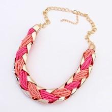 Fashion Bohemia Bead Weave Chokers Statement Pendant Necklace Women Chain Necklaces Pendants 2014 New Men Jewelry