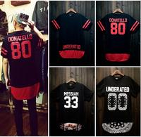Harajuku shirt Hip hop 00 baseball shirt Longer Women men Street dance Sports New 2014 Summer Fashion Loose t shirt shirts DJ-46